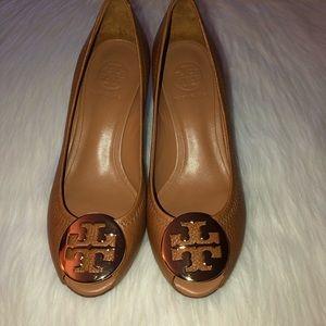 "Tory Burch""Sally"" Leather Pep Toe Wedge;Size-6;Tan"